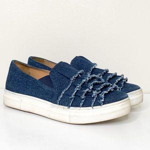 Anthro Seychelles Blue Ruffle Denim Platform Shoes